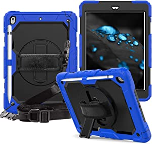 iPad 7th/8th Generation Case, CLARKCAS [Built in Screen Protector] Shockproof Heavy Duty Protective Rugged Case with Strap Kickstand Pencil Holder Cases for iPad 10.2 inch 2019/2020 Case, Blue