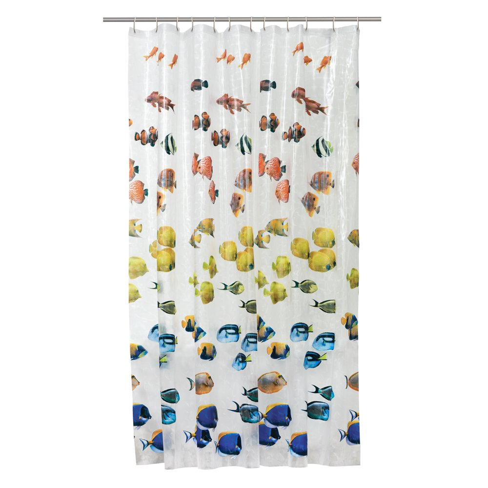 Clear fish shower curtain - Amazon Com Maytex Photoreal New School Waterproof Peva Shower Curtain Home Kitchen