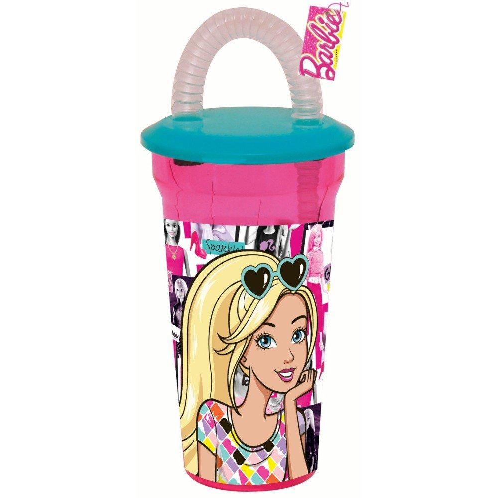 GUIZMAX Gobelet avec Paille Barbie Disney Verre Plastique