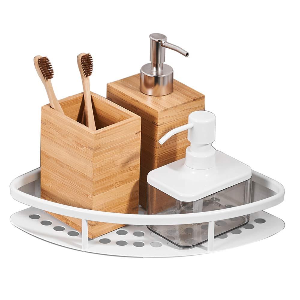 Besy Shower Corner Caddy Bathroom Shower Corner Shelf, Self Adhesive with Glue,Space Aluminum 1 Tier Storage Shelves Triangle Baskets,White Finish