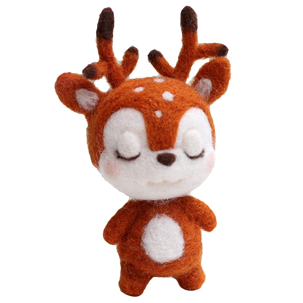 Prettyia Animal Deer Needle Felting Kit for Beginners with Basic Tools and Tutorials