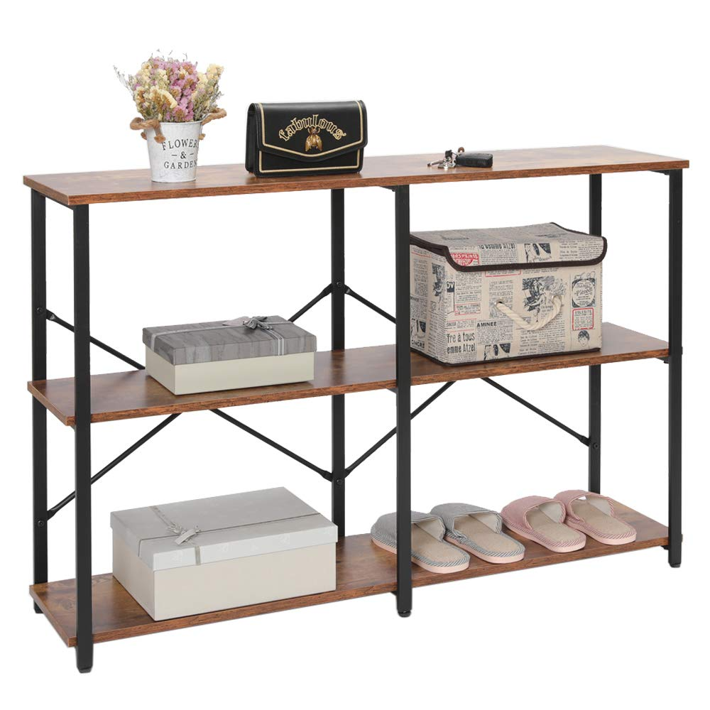 IWELL Industrial 3-Tier Console Table Sofa Table with Storage Shelfs, Entryway Hallway Table with Metal Frame, TV Console Table, Open Bookshelf for Entryway, Living Room, Easy Assembly, XGZ001F