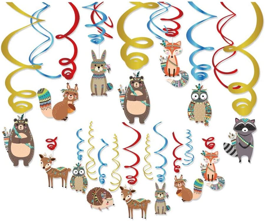 Wild Animals Hanging Swirls Decorations,Indian Lion Party Decorations,Tribal Woodland Theme Decor for Boy Girl Baby Shower, 1st Bday Favors Idea