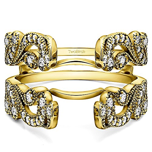 TwoBirch Vintage Style Filigree Millgrained Ring Guard with 0.49 cts of Diamonds in 10k Yellow gold