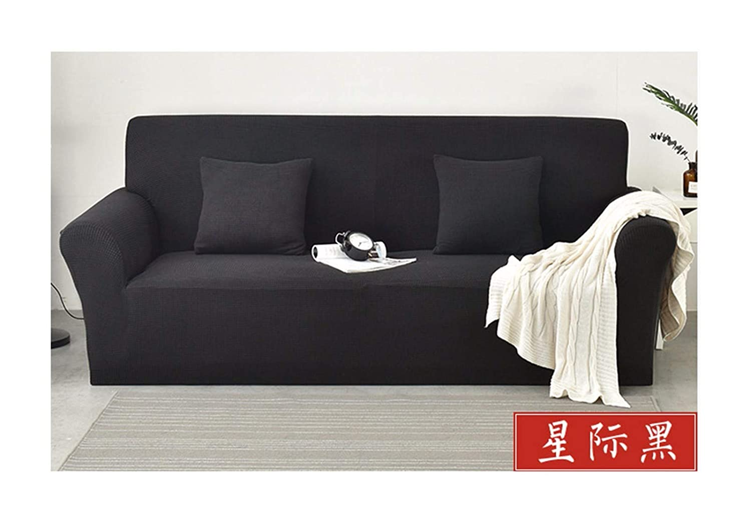4seat VGUYFUYH Black Knitted Lazy Sofa Cover Polyester Full Package Elastic Slip-Proof Home Universal Sofa Cover Simple Fashion One Set Durable Dust-Proof Pet Dog Predective Cover,4Seat