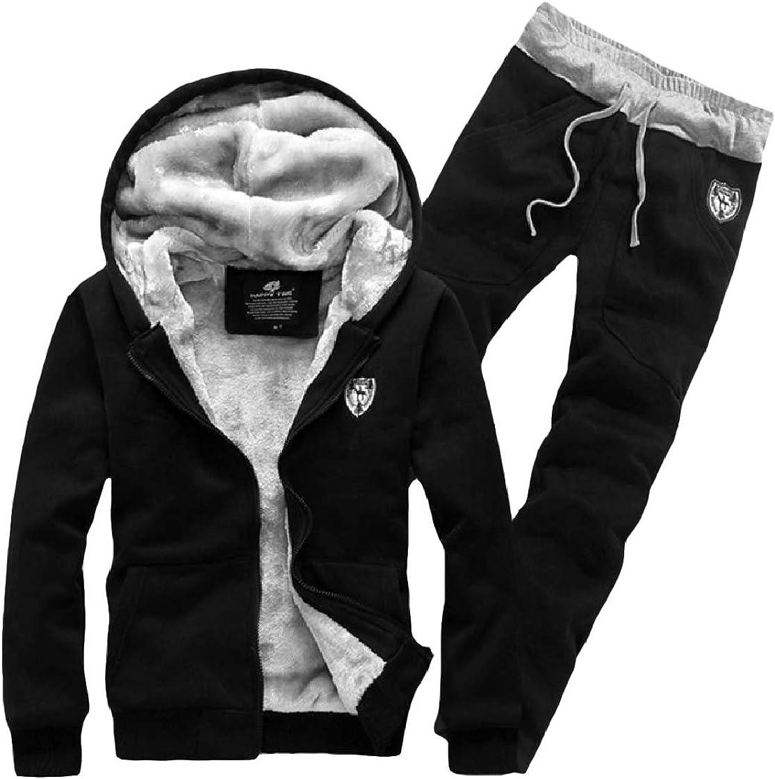 CrazyDay Mens Velvet Hood Thickened Zip-Up Pocket Sweatsuit Set