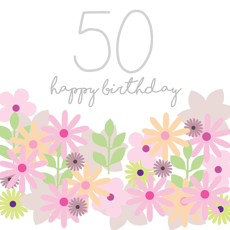 Jonathan Glick - Tarjeta de 50 cumpleaños, diseño de flores ...