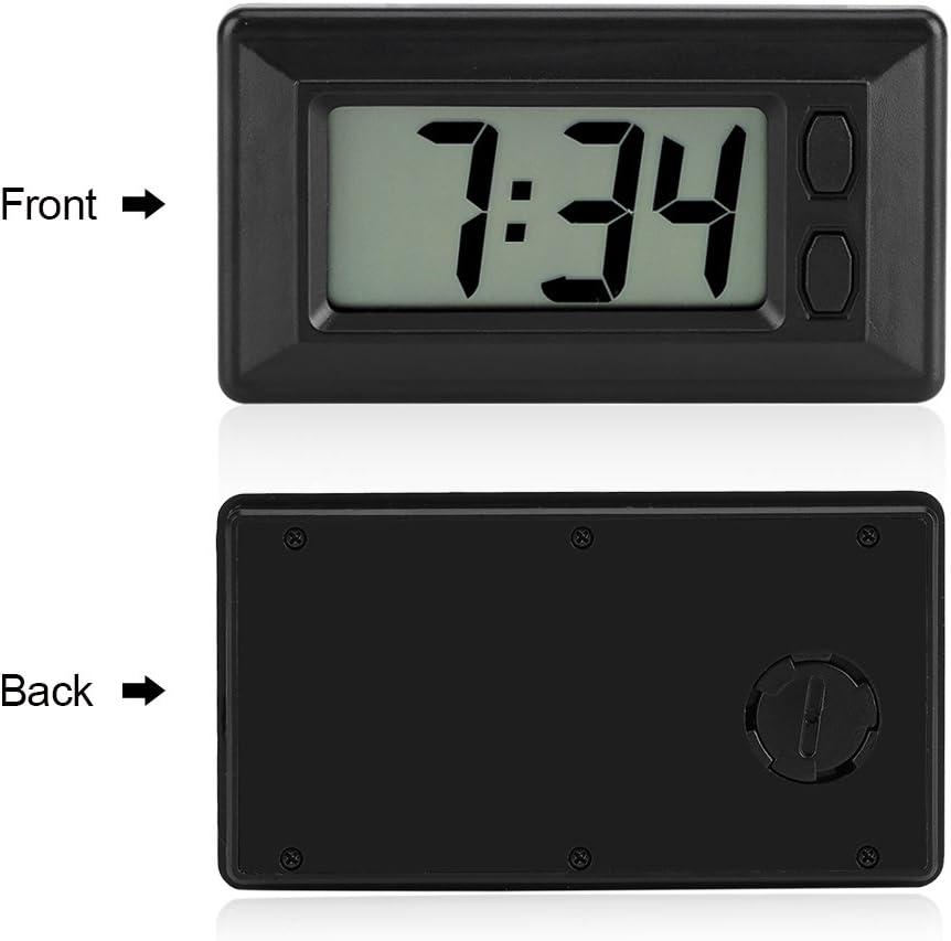 77x42.4x17.7 mm Horloge /Électronique Ultra-mince avec Pad Adh/ésif LCD Num/érique Date Heure Calendrier Affichage pour Tableau de Bord de Voiture de Bureau /à Domicile
