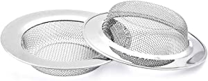 2 Pack Kitchen Sink Strainer, Stainless Steel Drain Cover, Anti Clogging Mesh Drain Strainer for Kitchen Sinks Drain, Large Wide Rim 4.5