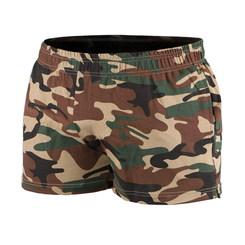 MUSCLE ALIVE Mens Bodybuilding Shorts 3'' Inseam Heavy 90% Terry Cotton 10% Spandex with Pockets Camo Green 2XL by MUSCLE ALIVE