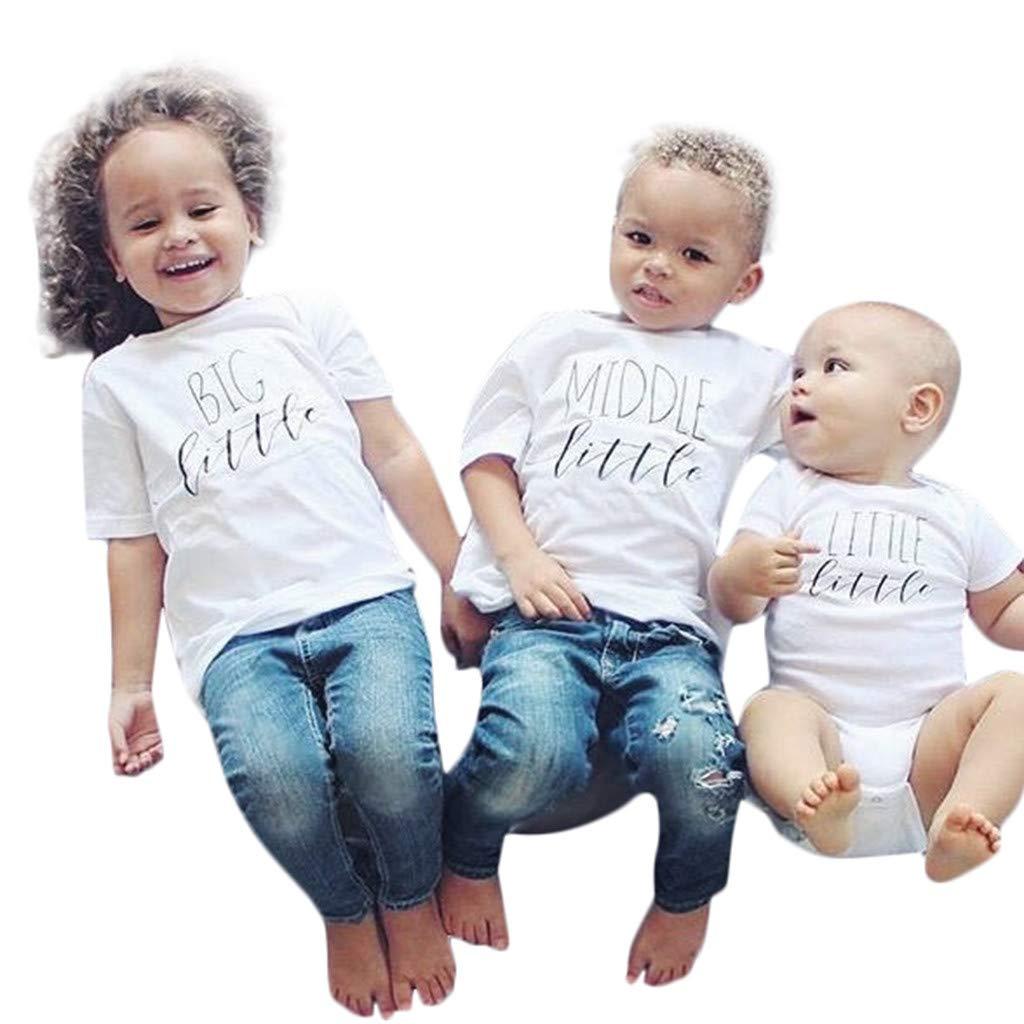 NUWFOR Toddler Kids Baby Girl Boy Big Little Sibling Set Matching Tees Tops T Shirt(White,2-3 Months)