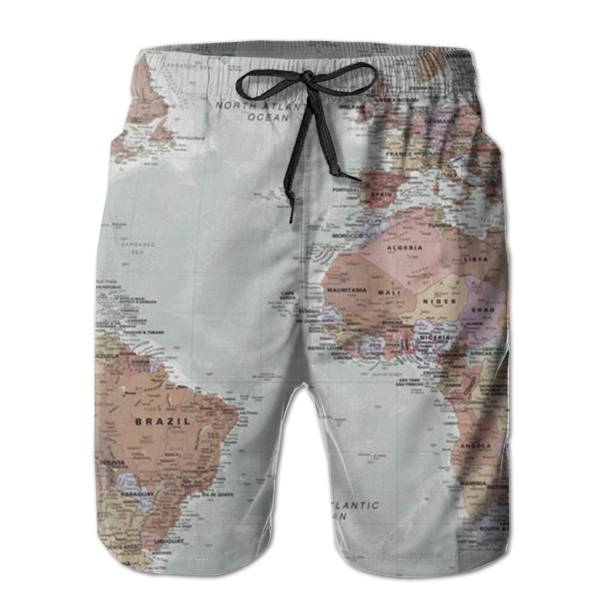 LDFUMG World Map Mural Mens Beach Board Shorts Quick Dry Summer Casual Swimming Soft Fabric with Pocket