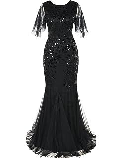 kayamiya Womens 1920s Maxi Long Prom Gowns Sequin Mermaid Hem Evening Dress With Sleeves