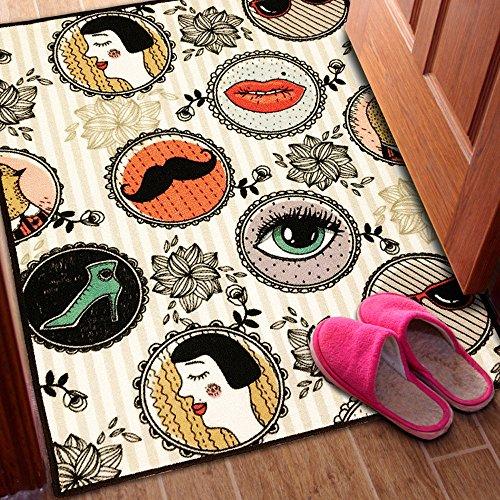 TideTex Fashion Retro Printing Rectangle Livingroom Carpet Creative Girl  Bedroom Bedside Rugs Unique Design Floor Non Slip Area Rugs Washable Kids  Foot Mats ...