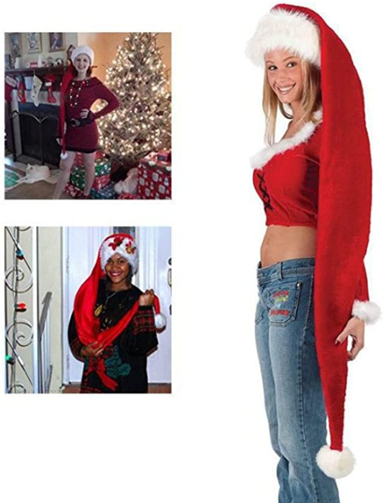 Doppelt Super Long Christmas Theme Hats Santa Claus Hats for Adults Costumes 5 ft
