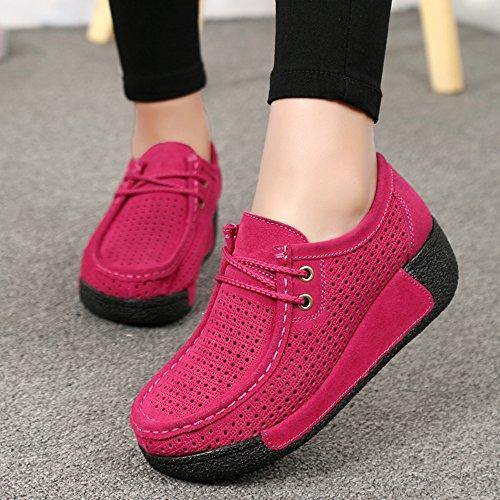 EnllerviiD Women Cut Out Platform Fashion Sneakers Moc Toe Suede Moccasin Loafers Shoes 505-1 Rose JvvygQA67