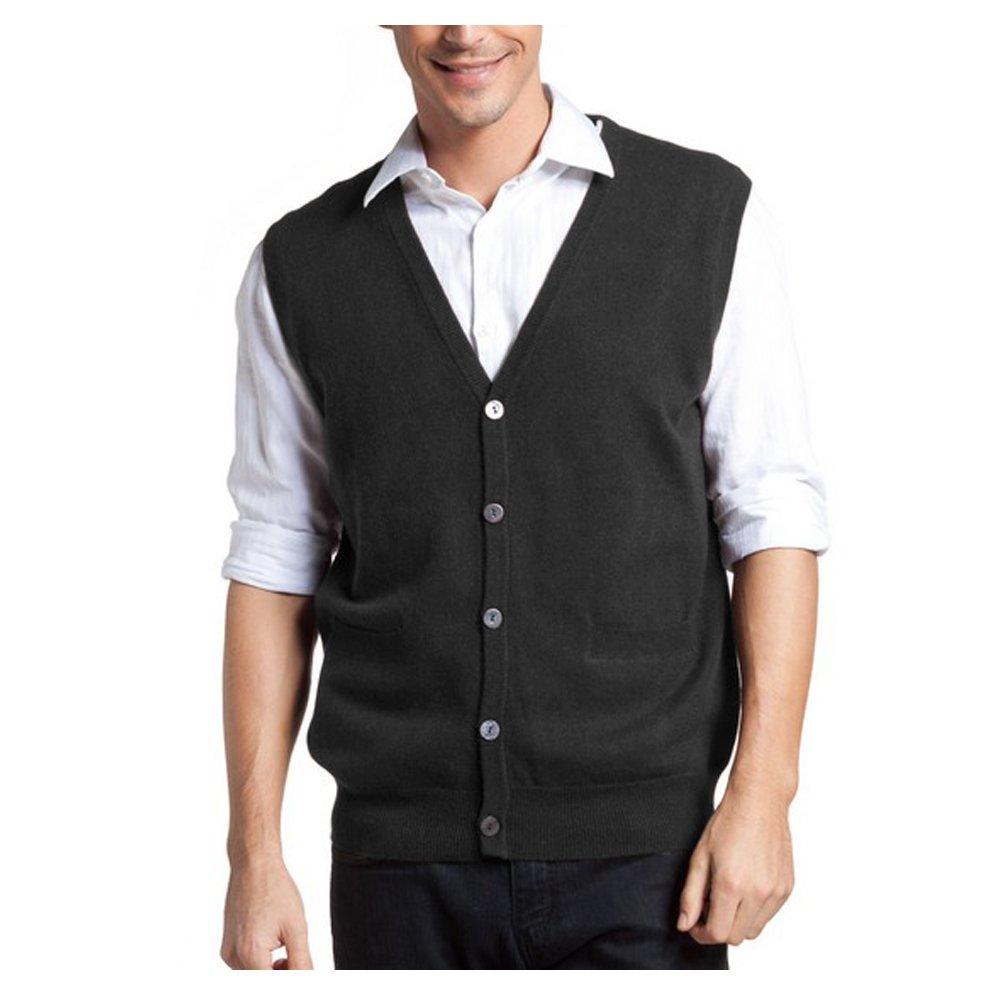 Parisbonbon Men's 100% Cashmere V-Neck Cardigan Vest CA13112800029667