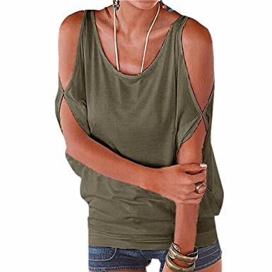 bf8afce3f7cc15 Slit Split Batwing Sleeve Loose Crew Neck Women'S Casual Tops Blouses T- Shirt: Amazon.co.uk: Clothing
