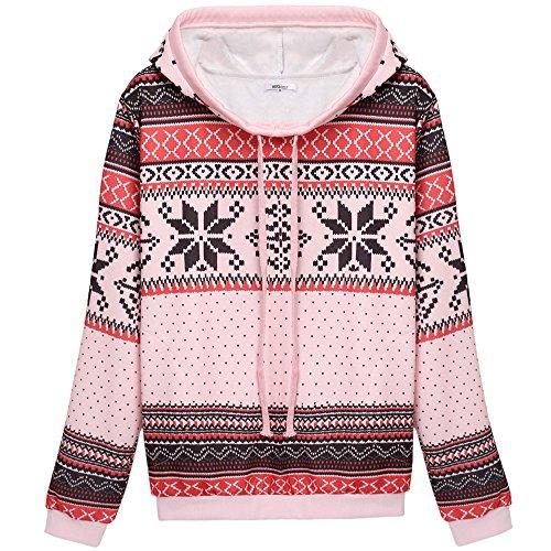 Meaneor Womens Christmas Snowflake Drawstring Thicken Hoodie Sweatshirt Pink L