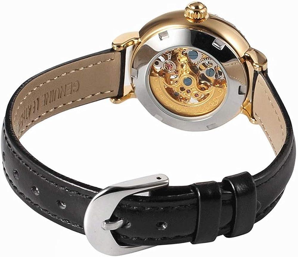 D-DH Orologio Donna tendenza di moda, vigilanza meccanica automatica, vigilanza di cuoio con oro Shell Movimento Meccanico, adatto a regali vacanze Black