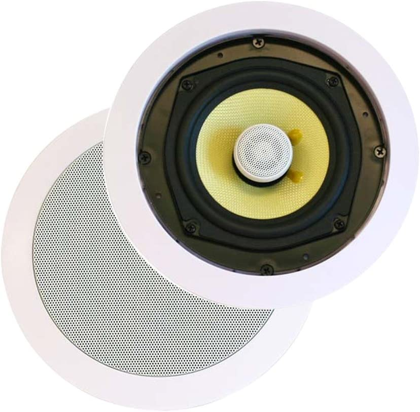 Monoprice 2 Way in-Ceiling Speakers - 8 Inches (Pair) with Concentric Mid/Highs, Aramid Fiber Cone Driver & Titanium Silk Dome Tweeters - Caliber Series, Model: 104104