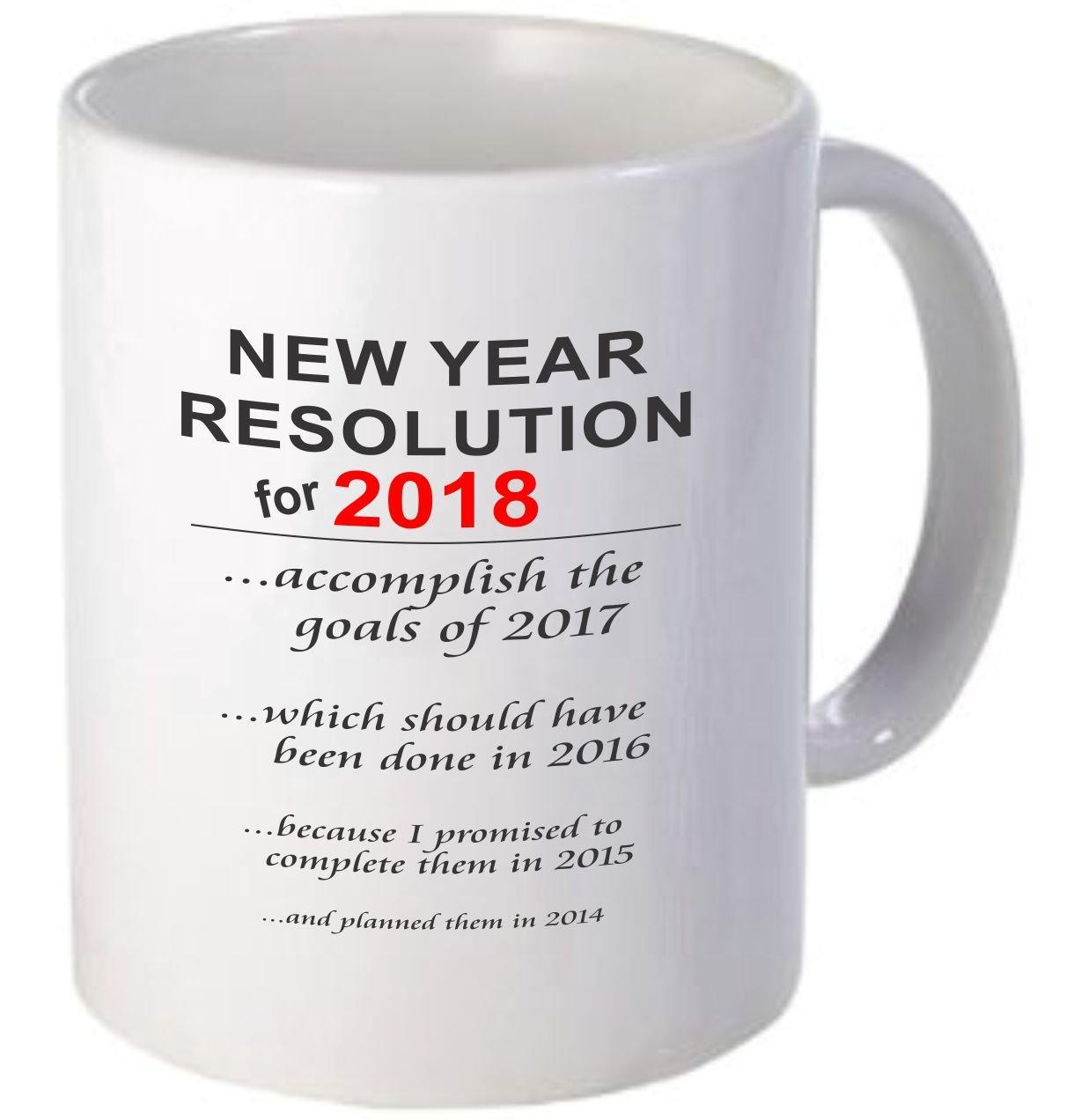 Rikki Knight新しい年解像度 – 新しい年目標2018 – 面白い引用デザイン11オンスセラミックコーヒーマグカップ White DIS-mugs-WHITE-4406 B078QWZ33H  NewYearGoals White