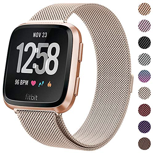 CAVN Metal Bands Compatible for Fitbit Versa Bands/Versa Lite Edition Bands for Women Men, Replacement Stainless Steel Wristband Accessories Strap