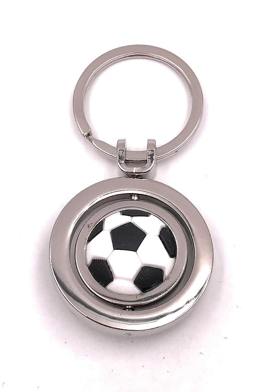 Onwomania Cadena Clave Balón de fútbol móvil Equipo Plata Llavero ...
