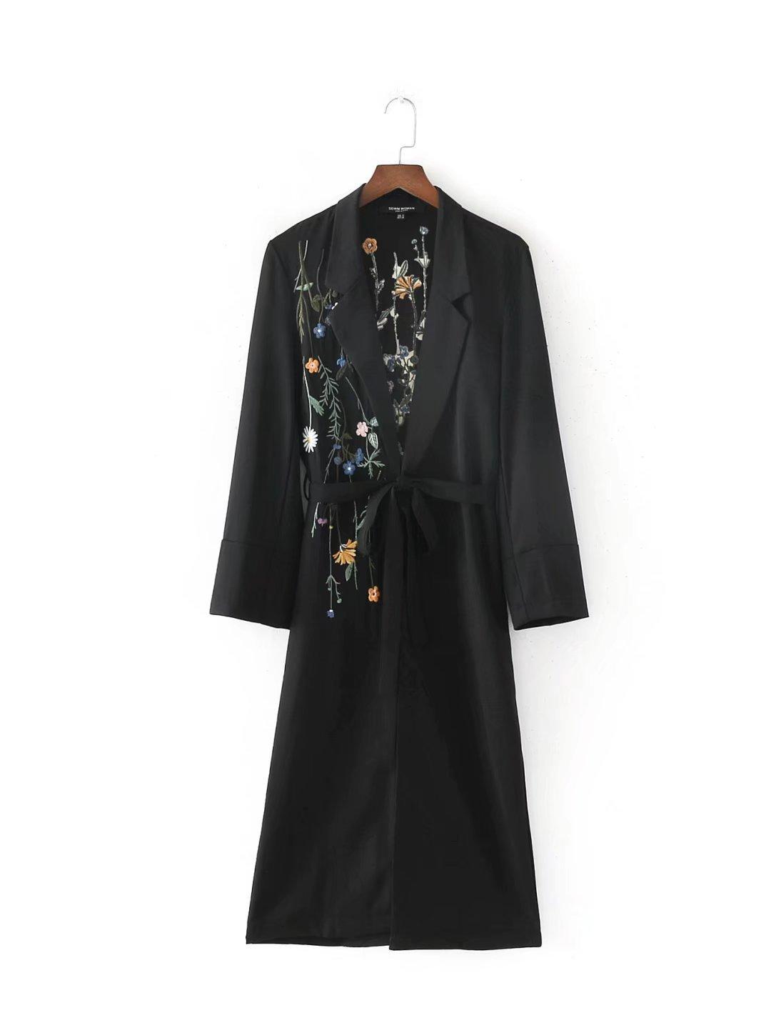 Pugaomsiw außenhandel - Couture Herbst 2017 Blume Flut Stickereien gürtel Knie Lange Mantel Mantel,s