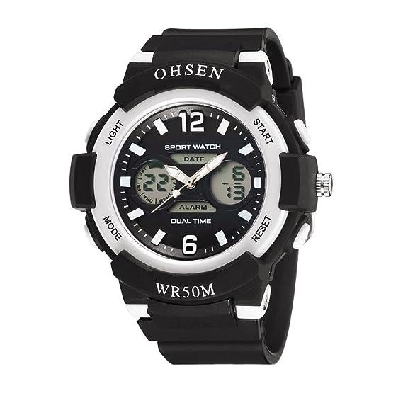 relojes digitales de moda fresco del deporte al aire libre para adolescentes llevado de múltiples correa de caucho negro luz: Amazon.es: Relojes