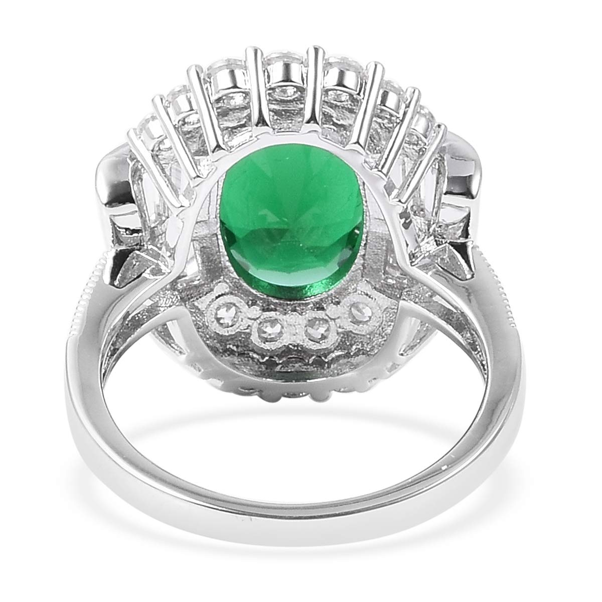 Shop LC Delivering Joy Statement Ring Green Glass White Cubic Zirconia CZ Gift Jewelry for Women Size 8 Cttw 8.7
