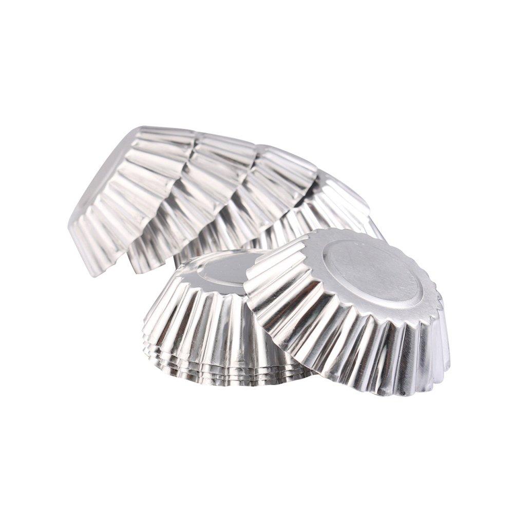 Grosun 50Pcs Egg Tart Aluminum Cupcake Baking Cups Cake Cookie Mold Tin Baking Tool