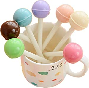KitMax (TM) Pack of 8 Pcs 0.38mm Cute Cool Novelty Candy Color Lollipops Decor Gel Ink Pen Office School Supplies Students Children Gift (Color May Vary)