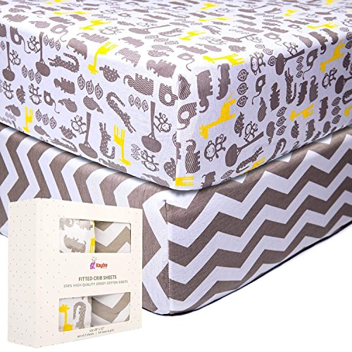 Crib-Fitted-Sheets-by-Kaybo-Store-100-Cotton-Jersey-Knit-Bedding-for-Baby-Infant-Toddler-2-Pack-Unisex-Chevron-and-Safari-Pattern-eBook-on-How-to-Raise-Healthy-and-Happy-Children