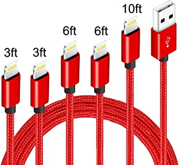 5-Pack Nanming Nylon Braided Lightning Cables