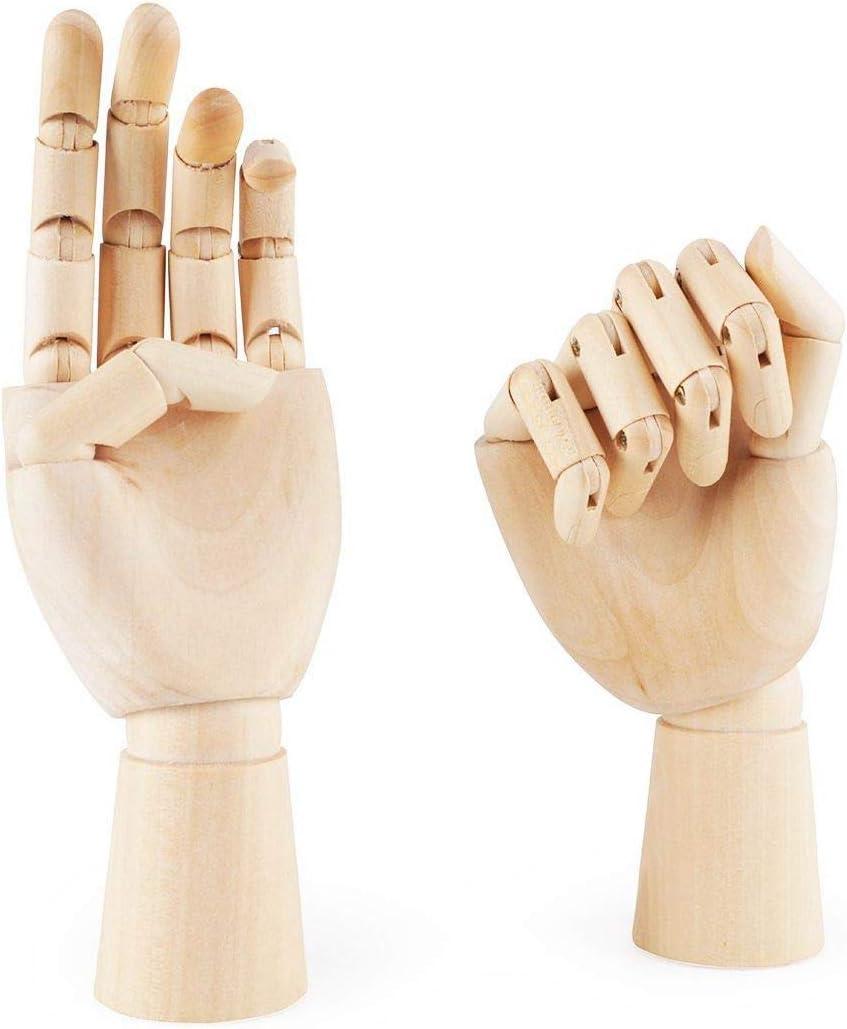Nrpfell Figura Mano Izquierda/Derecha Articulada Opuesta Seccionable de Madera de 7 Pulgadas Modelo de Mano de Maniqui para Dibujo, Croquis, Pintura (Mano Izquierda + Derecha)