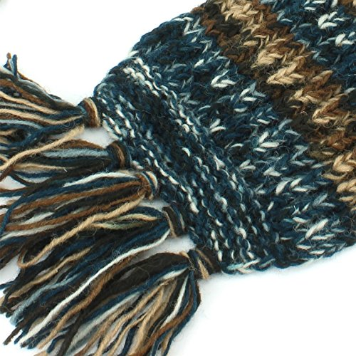 Muster Strick Wolle Braun abstraktes Klobige LOUDelephant Blau Schal ...
