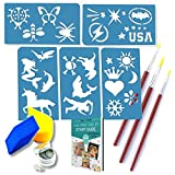 Face Painting Stencils Tool Kit Supplies,Bonus GIFT Bag, BEST 24 Boys and ...