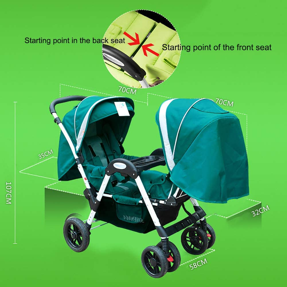 ZJGOODS Twin Baby Strollers for Boys And Girls with Adjustable Backrest Double Face to Face with Shock Absorber Comfortable Folding Trolley,A