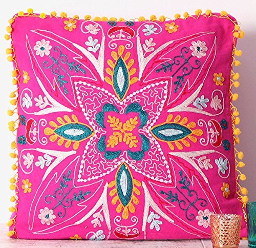 Embroidered Pink Cotton Suzani Indian Cushion Cover. 20