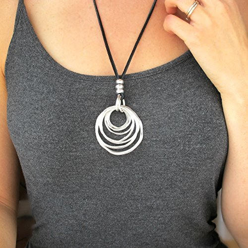 - Long Necklaces for Women-Women's Fashion Necklace-Boho Necklace-Gift for Her-BLACK Leather Cord Necklace with Concentric Silver Rings Pendant -25 Inches-Long Boho Necklace
