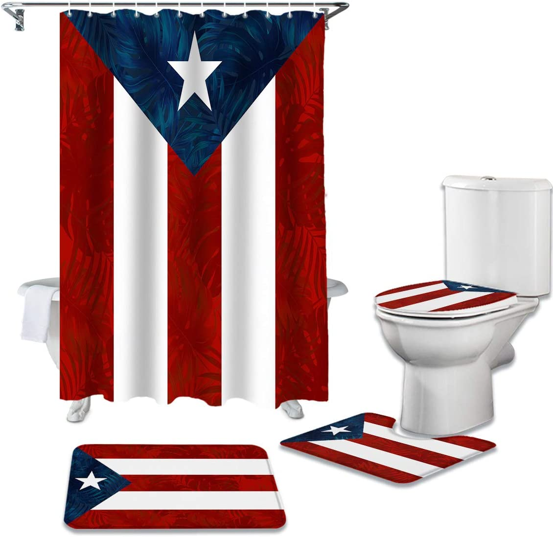 4 Pcs Shower Curtain Sets Puerto Rico Flag Waterproof Fabic Bathroom Set with Non-Slip Rugs Toilet Lid Cover Bath Mat Stripe Shower Curtain with Hooks 36x72 inch Shower Curtain with Hooks Large