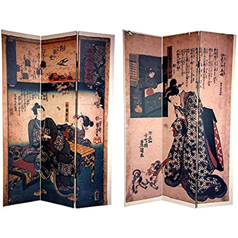 Oriental Furniture 6 ft. Tall Double Sided Japanese Figures Room Divider (One Direction Huge Posters)