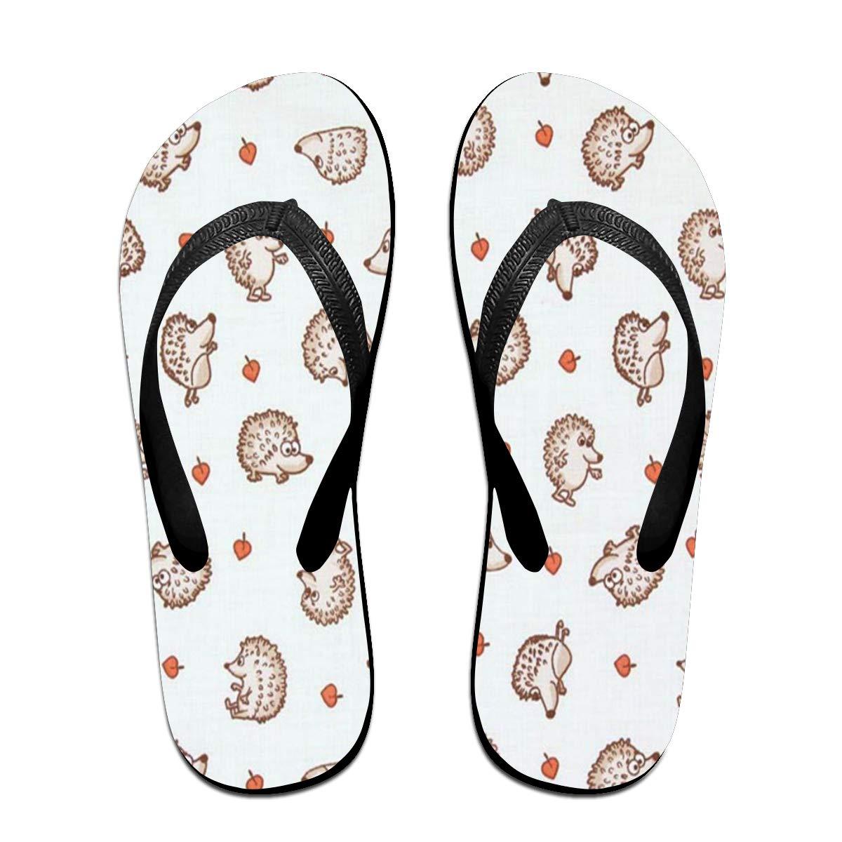 HongyeMao Hedgehog Leave Flip Flops Summer Slippers Beach Sandals