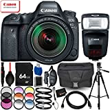 Canon EOS 6D Mark II with EF 24-105mm IS STM Lens & Speedlite 470EX-AI - 14PC Accessory Bundle Includes 64GB SD Memory Card + 72 Full-Size Tripod + 3PC Filter Kit + Large Carrying Case + MORE