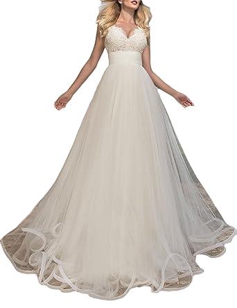 YSMei Women\'s V Neck Bridal Gowns Long Sleeveless Tulle Wedding ...