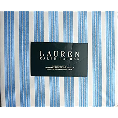 Lauren Ralph Lauren 4 Piece Cotton Queen Size Sheet Set Wide Blue Thin Black Stripes on White