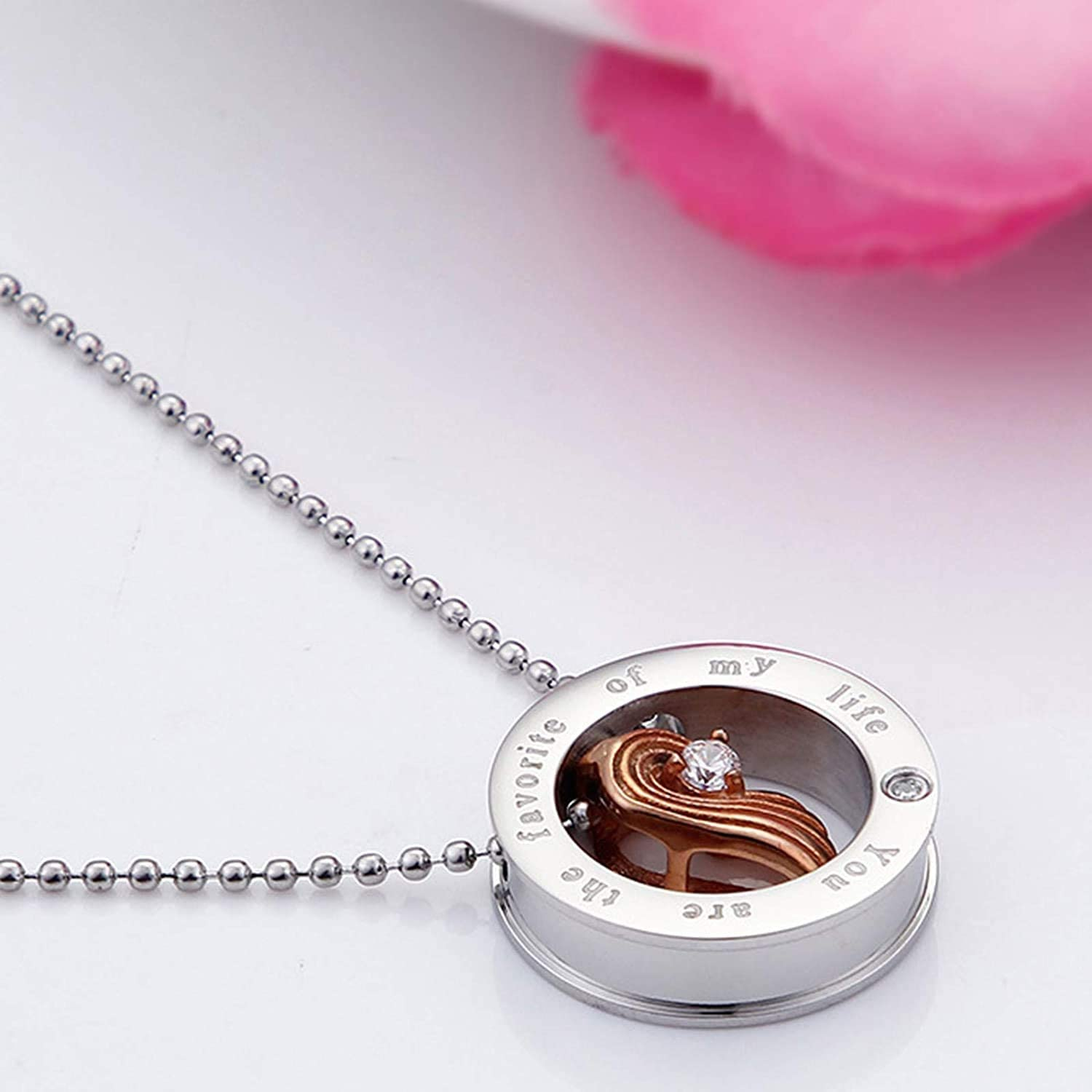 LOPEZ KENT Mens Womens Stainless Steel Necklace with Pendant Necklace Cubic Zirconia Puzzle Heart Necklace Black//Rose Gold