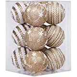 "Sea Team 75mm/2.95"" Shatterproof Foamed Plastic Christmas Ball Ornaments Glittering Xmas Balls with Delicate Lace Patterns - Set of 12 (Gold)"