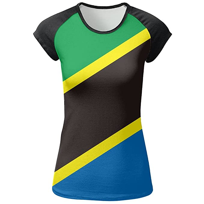 Amazon.com: sheery Mujer de manga corta Tanzania bandera T ...